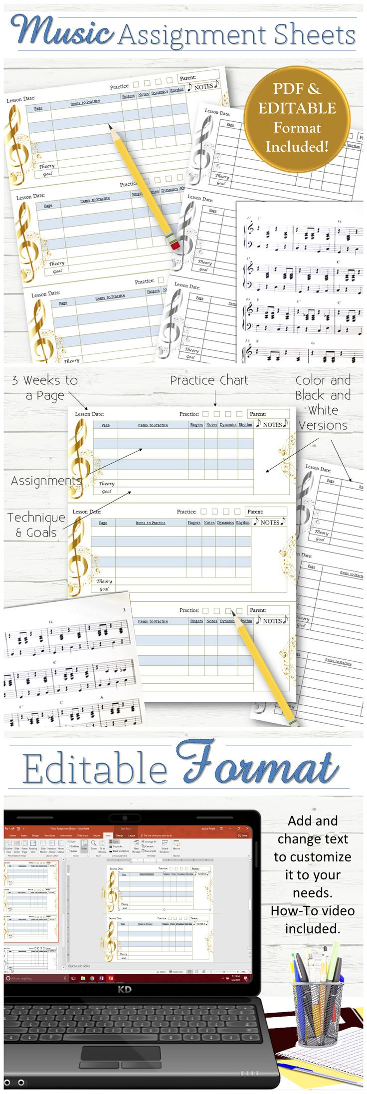 """A simple yet effective editable assignment sheet for music lessons! Each page includes 3 weeks of lessons and plenty of space to track songs, progress, goals, and more! Includes a Colored and Black & White version in PDF and an editable PowerPoint format.  1) Lesson Date 2) Parent Signature 3) Practice Chart 4) Lesson Assignments (with """"pass-off"""" criteria"""") 5) Technique Assignments 6) Notes Section"""