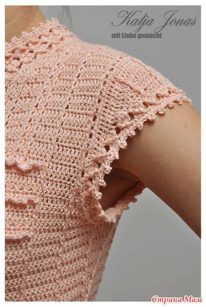 Cap sleeve on a Vanessa Montoro crochet dress