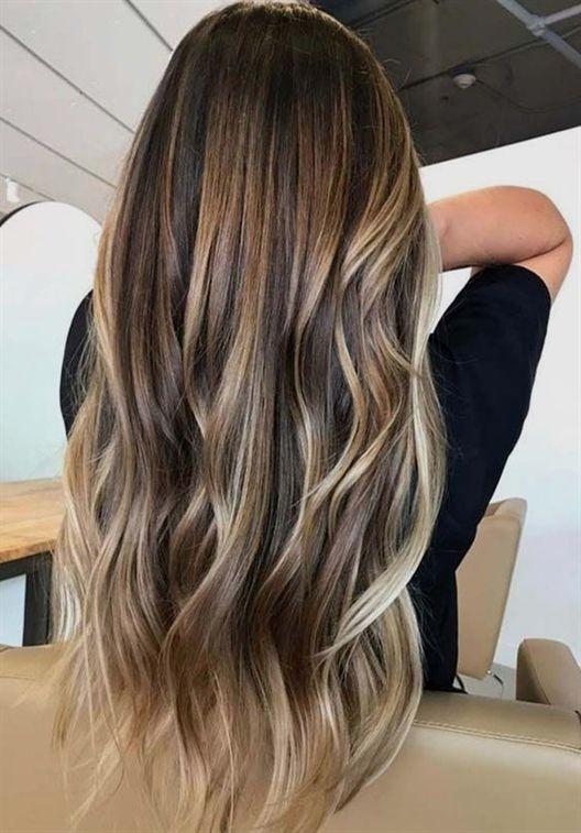 Haarfarben Ideen und Trends für die lange Frisur Winter 2018-2019 Source by sof…
