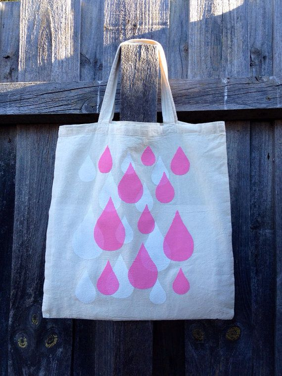 Rain drops hand stenciled & screen Printed Cotton Tote Book Shopping Laptop Bag on Etsy, $25.00 AUD