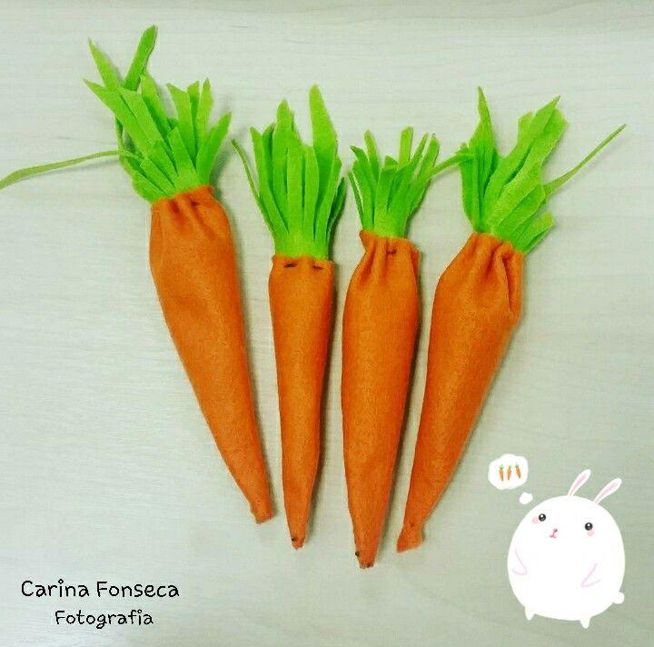 Cenourinhas arte em feltro  Rabbit carrot easter