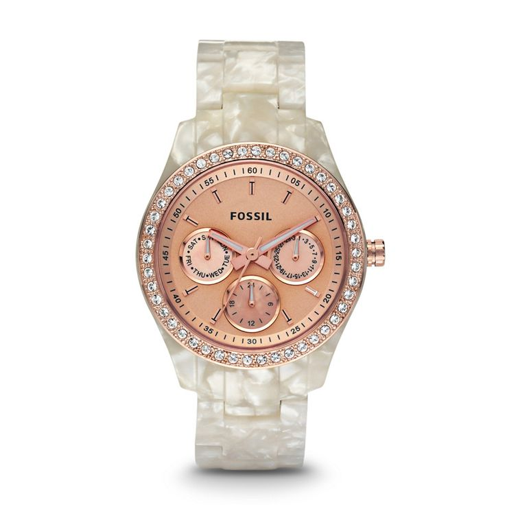Fossil Stella Multifunction Resin Watch - Pearlized White with Rose ES2887 | FOSSIL®
