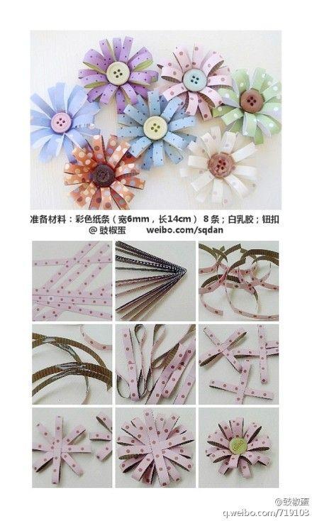 Blumen aus Papier und Knöpfen.