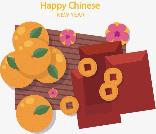 中国春节橘子红包
