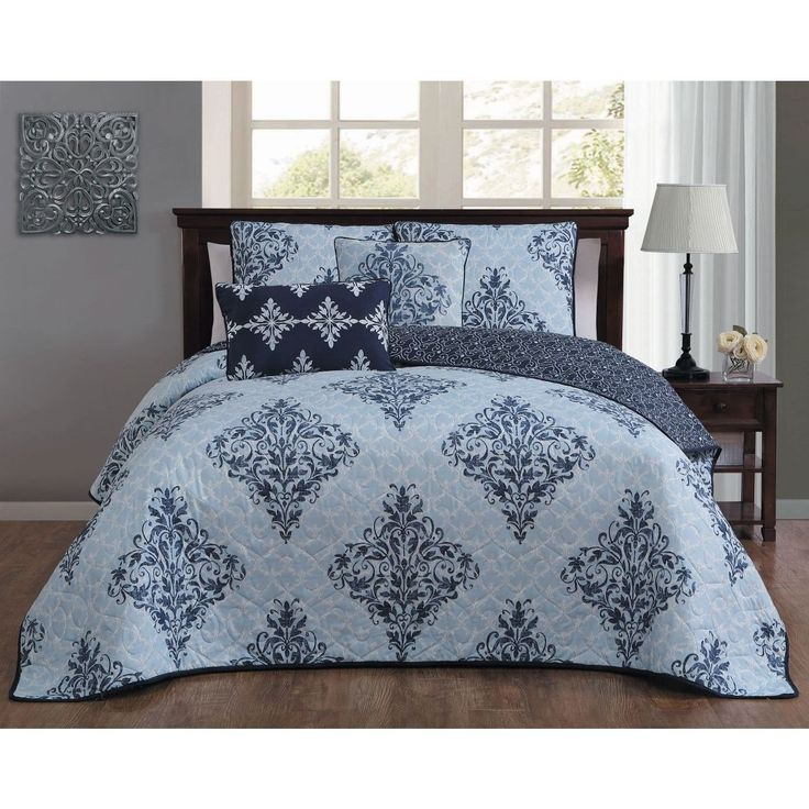 Blue Damask Queen Size Quilt Set Bohemian Motif Chic Geomectric Floral Flowers Geomectrial Vintage Modern Indie Victorian Bedding Microfiber