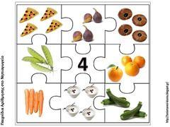 Puzzelen met hoeveelheden voedsel. De kinderen leren het aantal objecten te herkennen. Voorbereiding op het rekenen. Puzzel van het getal 4.