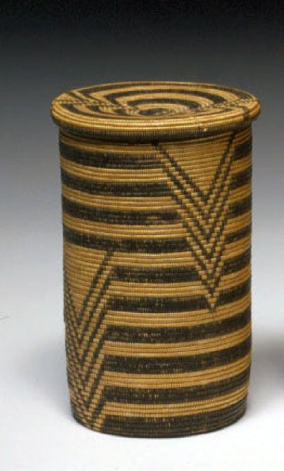 Africa | Lidded basket collected from the Waziba or Haya people of Tanzania in the early 1900s | Grass fiber and natural dyes