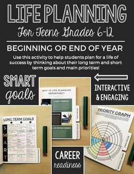 """Use this portfolio to help guide teens (grades 6-12) plan a life full of success! Students will set their priorities, long term and short term SMART goals, and develop a summary of their """"life plan"""". This portfolio is perfect for a beginning OR end of the year activity."""
