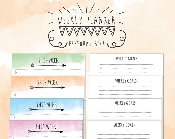Personal size undated WO1P  weekly NOTES di TheLittlePlannerShop