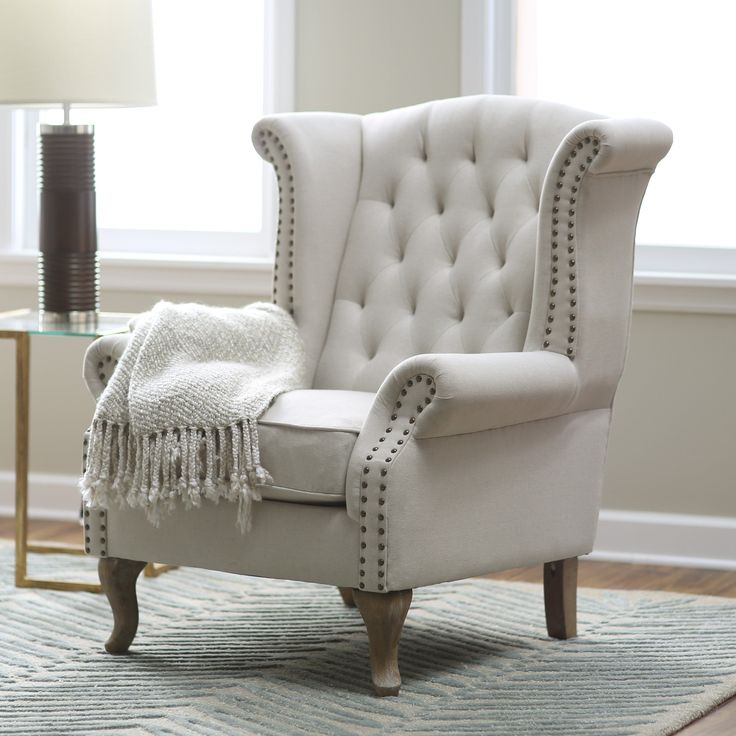 Belham Living Tatum Tufted Arm Chair with Nailheads   from hayneedle com    Winged ArmchairLiving Room Accent. 25  best ideas about Tufted Chair on Pinterest   Bedroom chair