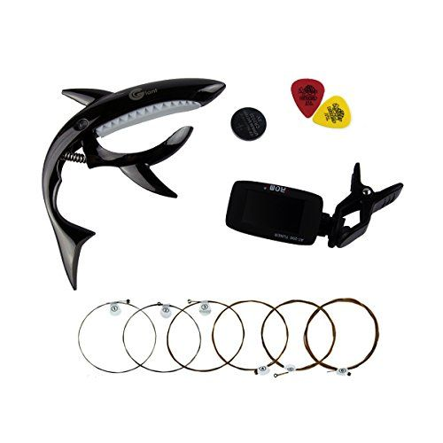 TigerTu Guitar Beginner Kits,Shark Capo and Tuner and Acoustic Guitar Strings and Picks - http://guitars.nationalsales.com/tigertu-guitar-beginner-kitsshark-capo-and-tuner-and-acoustic-guitar-strings-and-picks/