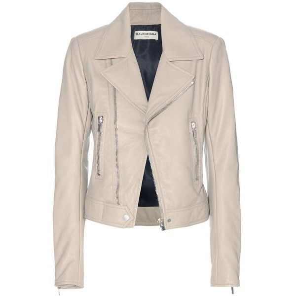 Balenciaga Leather Biker Jacket (£1,460) ❤ liked on Polyvore featuring outerwear, jackets, beige, pink jacket, biker jacket, motorcycle jacket, genuine leather jacket and leather moto jacket