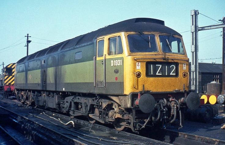 Brush Type 4 D1931 at Gloucester Horton Road MPD on 11th September 1970. New from Loughborough in Feb 66 and allocated to Bristol Bath Road , it went on to become Class 47/0 No. 47254 in March 74, Class 47/4 No. 47651 in March 86 and No. 47806 in Aug 89. Withdrawn in July 2002. Rebuilt for Virgin Trains as Class 57/3 'Thunderbird' No.57309 in June 03 and named 'Brains' until March 2012. It was then acquired by Direct Rail Services and named 'Pride of Crewe' in June 2012. (Derek Jones)