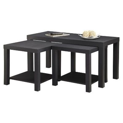 Holly Bay Coffee Table and End Table Set - Black - Ameriwood Home