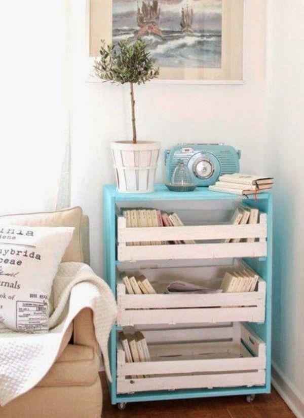 meuble de  rangement en palette Europe et casiers en bois peints