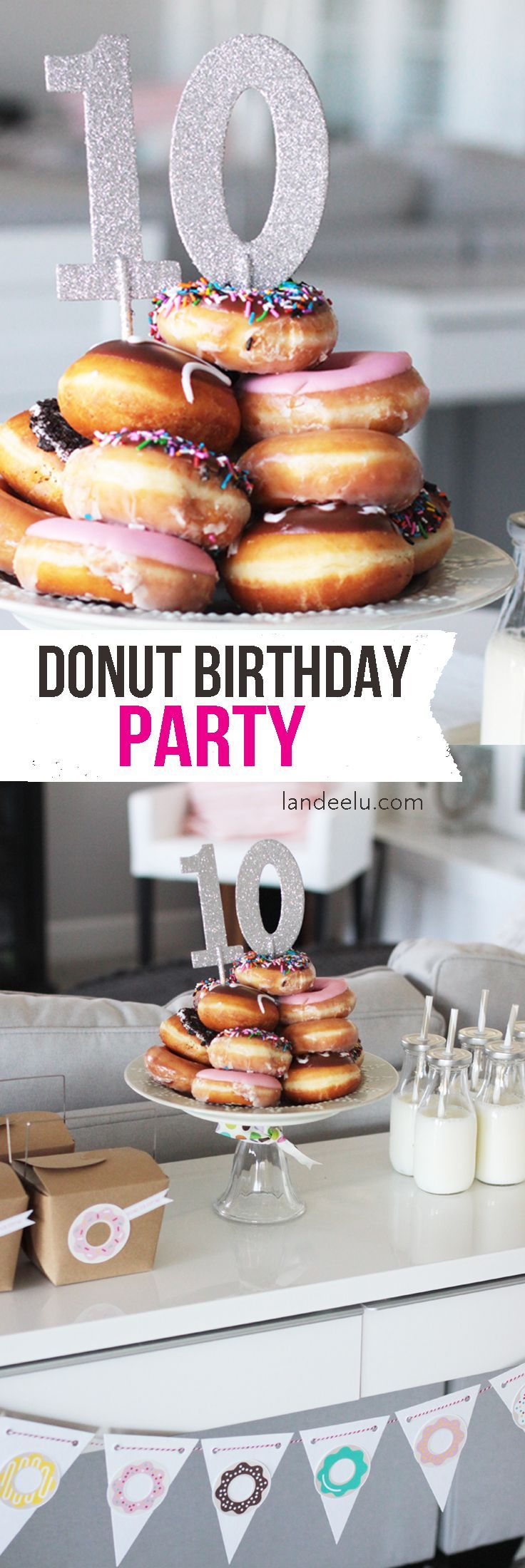Throw a super fun Donut Theme Birthday Party!  It'll be a hit!  DIY TUTORIAL -  FREE PRINTABLE DONUT SPRINKLE GAME - Everyone loves Doughnuts!  www.landeeseelandeedo.com: