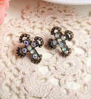 Rhinestone Cross earring