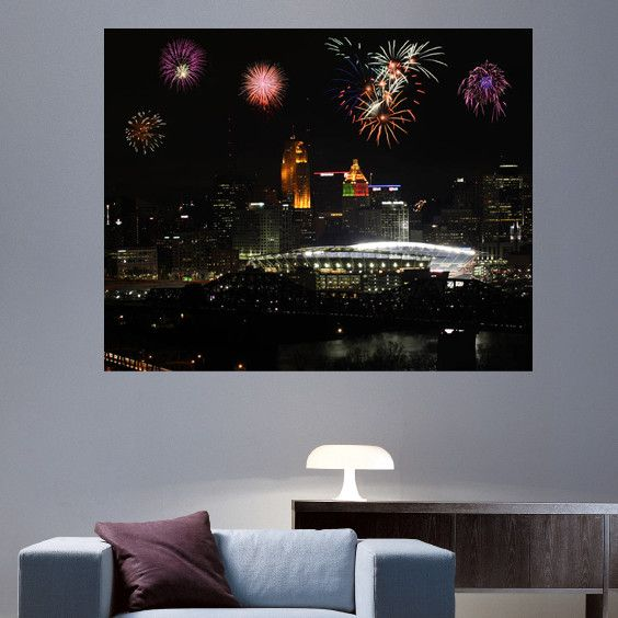 "Batie's ""Paul Brown Stadium with Fireworks"" Glossy Wall Decal"