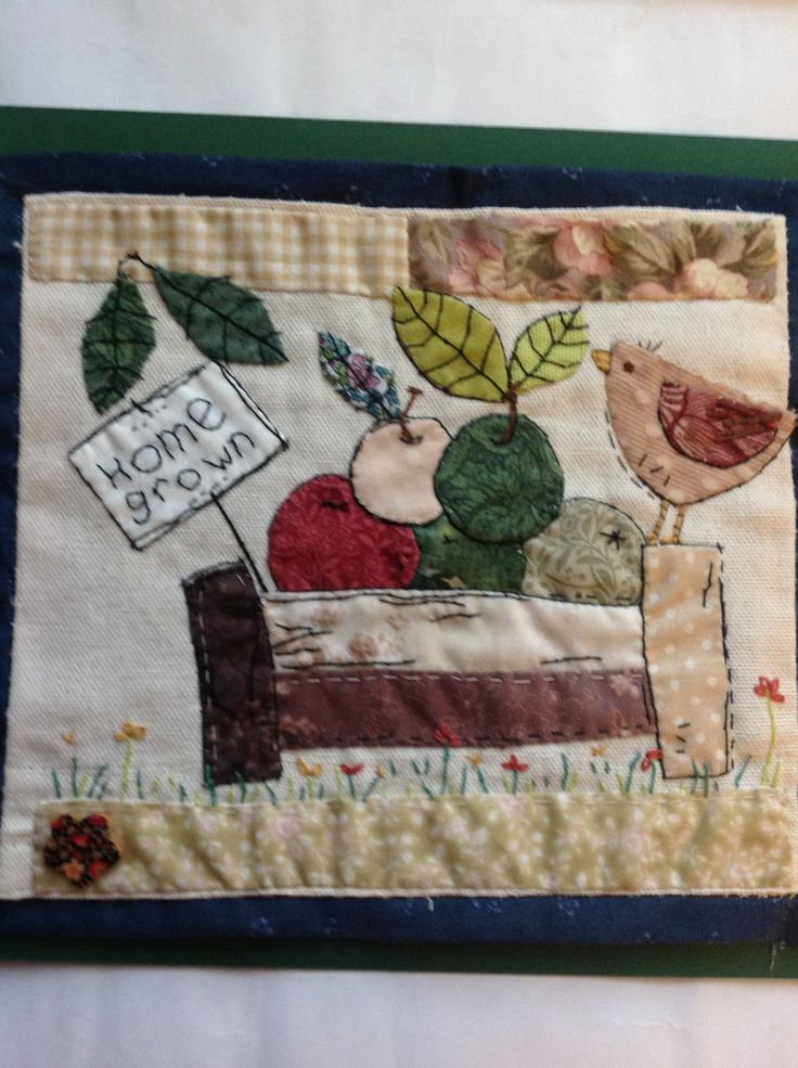 Folk art picture inspired by the work of textile artist and creative stitching genius, Sharon.blackman.com. I make these as gifts for family and friends, who covet them.