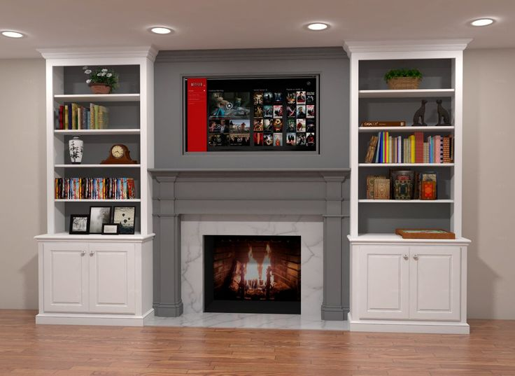 Two Tone Built In Fireplace Surround Features Gray Mantle