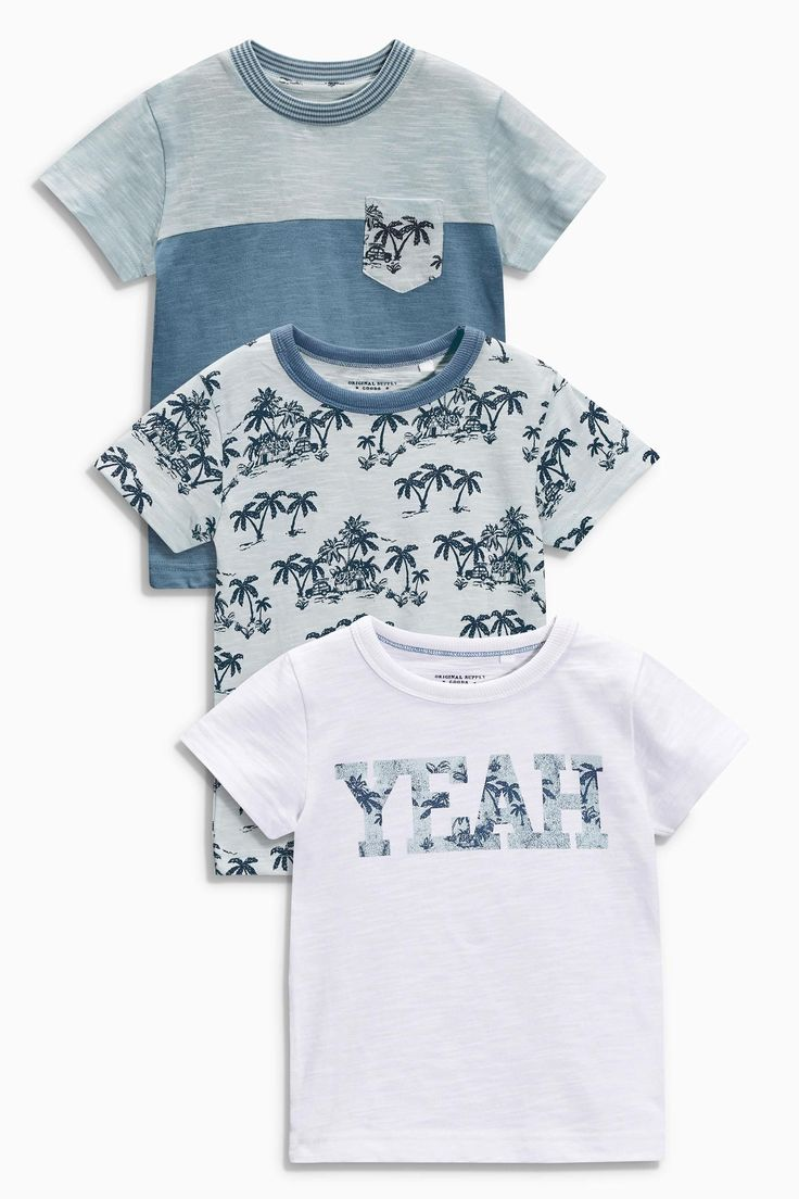 Buy Blue 'Yeah' Print T-Shirts Three Pack (3mths-6yrs) from the Next UK online shop