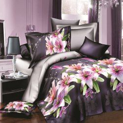 New Simple Sweet Style Rose Pattern 3D Full Size 4 Pcs Duvet Cover Set (Without Comforter)