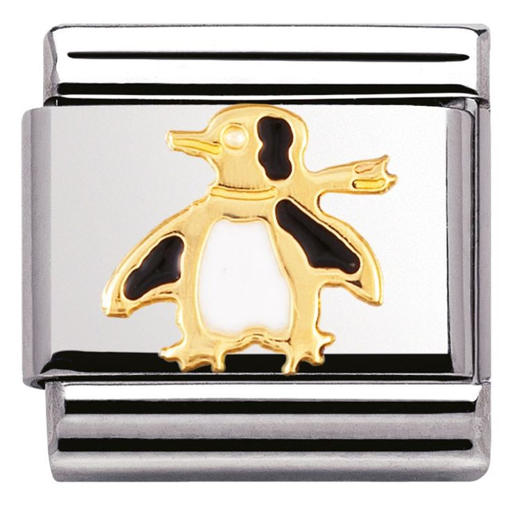 Nomination Composable Classic Symbol Scottish Cow Stainless Steel, Enamel and 18K Gold