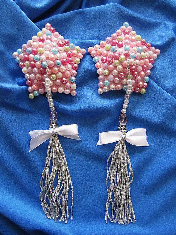 Bubblegum Pop Burlesque Pasties Pearl Stars Nipple Covers w/ beaded tassels & white bows