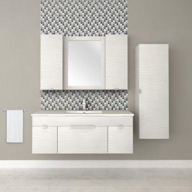 48″ 2 Door / 1 Drawer Floating Vanity with Linen Cabinet in Contour White #bathroom #vanity #design #homedecor #interiordesign #lightwood #lightcabinets #renovations #textures #Cutler #CutlerKitchenandBath