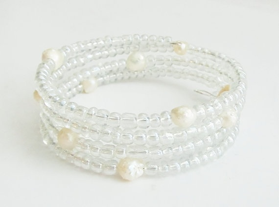 Beaded Memory Wire Wrap Bracelet - clear glass beads with pearls