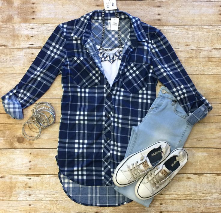 What I like about you Plaid Flannel Top: Blue/White from privityboutique