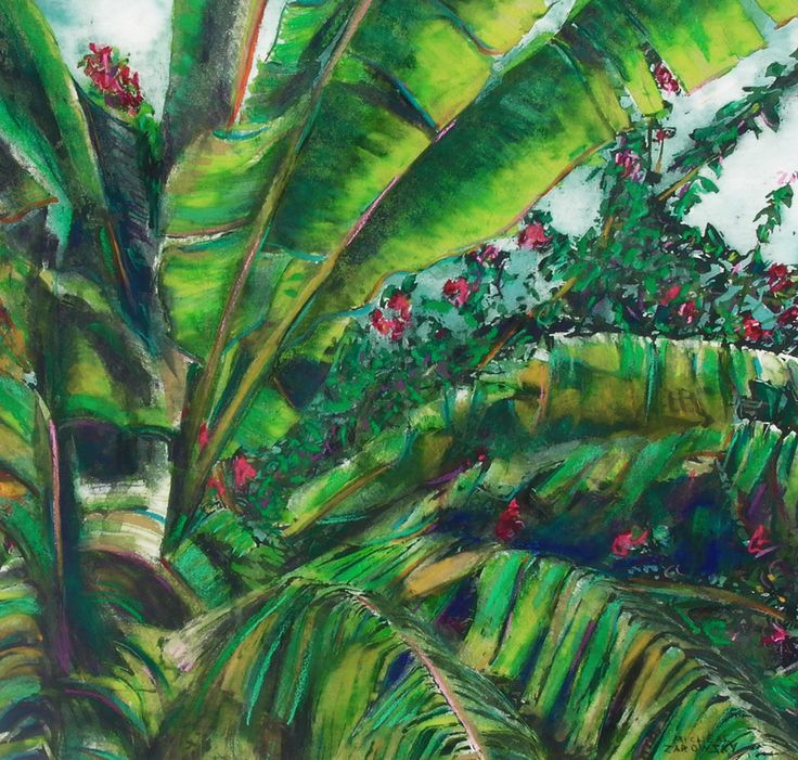 "palms st kitts - micheal zarowsky - pastel and watercolour on arches paper 17 .75"" x 19"""