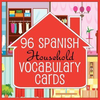 96 Spanish / English Household Vocabulary Flash Cards