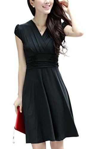 おすすめ (リザウンド)ReSOUND レディース カシュクール ドレス ワンピース ミモレ丈 半袖 399
