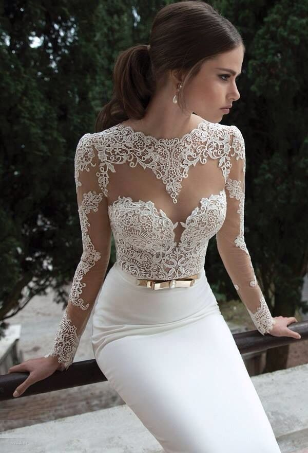 Prom Elegant Lace Sweetheart Long Sleeve Mermaid Bridal Wedding Homecoming Dress Love The Top For