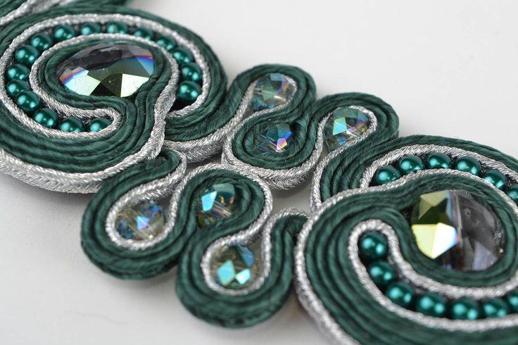 Beautiful Green Handmade Women s Soutache Necklace with Czech Crystal Beads | eBay