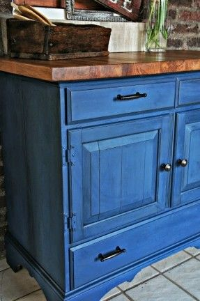 Buffet finished in Napoleonic Blue Chalk Paint® decorative paint by Annie Sloan | By Whimsical Perspective