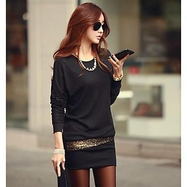 Women's Sequined Batwing Sleeve Dress - EUR € 13.63