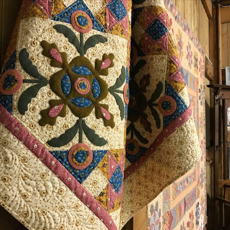 Raspberry Ripple - wool applique set on pieced blocks using Leonie's Evandale fabric line