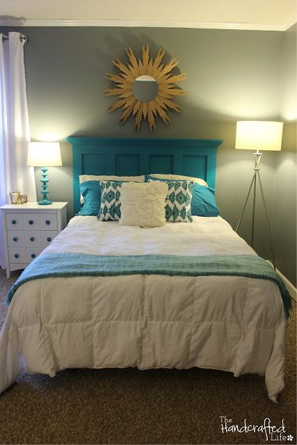 The Handcrafted Life Teal White And Grey Guest Bedroom Reveal For Home Pinterest Bedrooms Gray