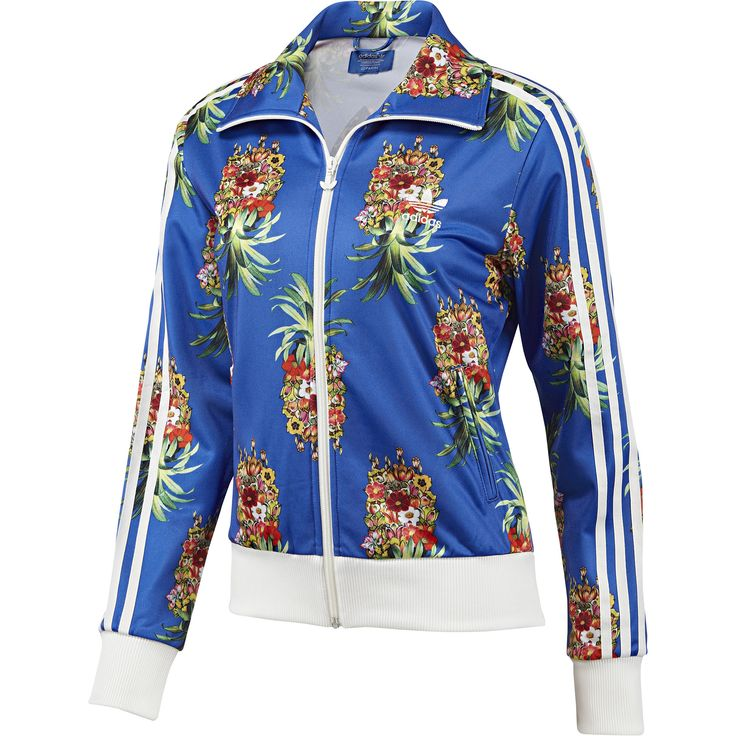 Blue track jacket by Adidas, with cool graphic print. The jacket equivalent of the Aloha shirt ha ha.