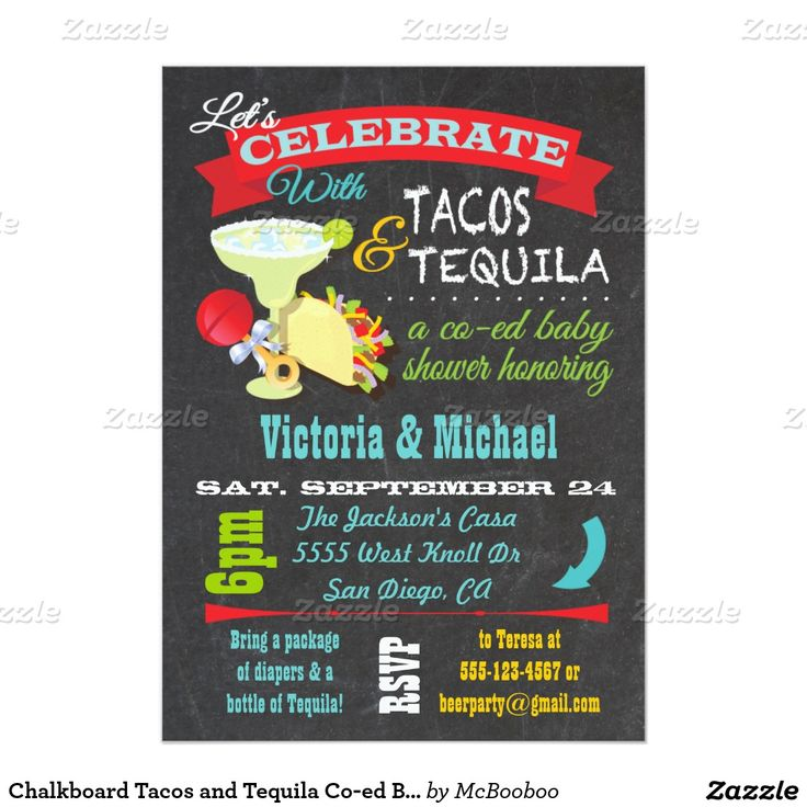 Chalkboard Tacos And Tequila Co Ed Baby Shower 5x7 Paper Invitation Card