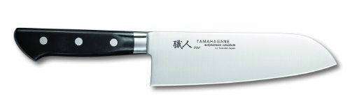Tamahagane Pro P-1114 - 7 inch, 175mm Santoku Knife by Tamahagane. $94.95. Constructed from high carbon steel with added molybdenum for enhanced strength and hardness. Hand wash only; limited lifetime warranty; made in Japan. Classic black pakka wood handle, triple-riveted for durability. Razor sharp edge is beveled on the right side and is best suited for right handed users. Versatile 7-inch Santoku knife blends modern construction techniques with Japanese knifemak...