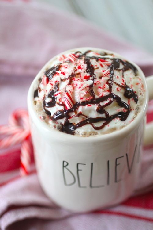 Skinny Peppermint Mocha - strong coffee, unsweetened almond/other milk, unsweetened cocoa powder, stevia/sweetener of choice, peppermint extract, protein powder (optional), optional toppings (whipped topping, crushed candy cane, sugar free chocolate syrup)