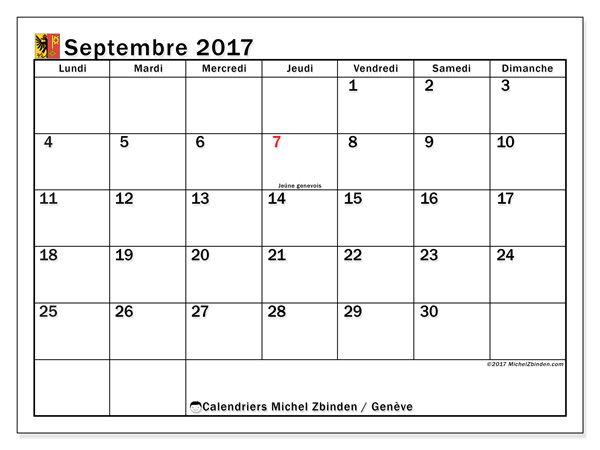 Calendrier à imprimer gratuit septembre 2017, avec les jours fériés du Canton de Genève