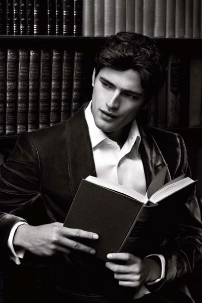 Sean O'Pry for GQ Russia. Men + Leather Bound Books = ♥