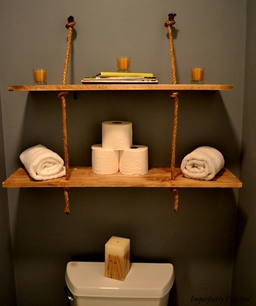 cheap and easy DIY- rustic shelves-boards and rope. (and a couple of brackets and eye bolts) great for a rustic cabin or students.
