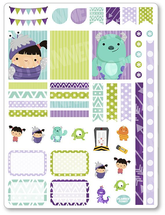 Cute Girl and Monster Decorating Kit / Weekly Spread Planner Stickers for Erin Condren Planner, Filofax, Plum Paper