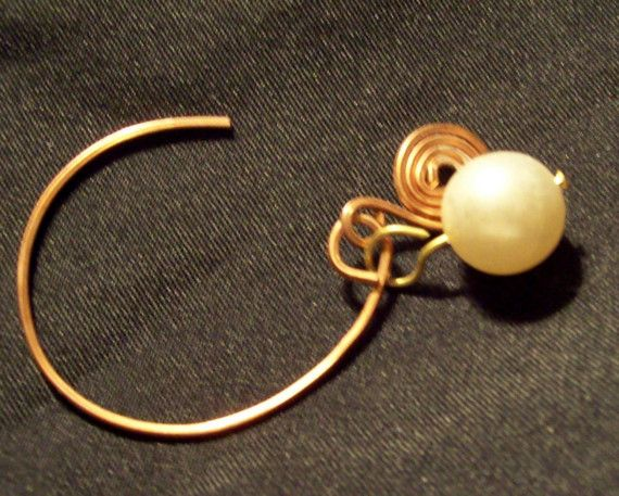 copper hoops with freshwater pearls handmade copper discs #etsy #handmade #design #gifts