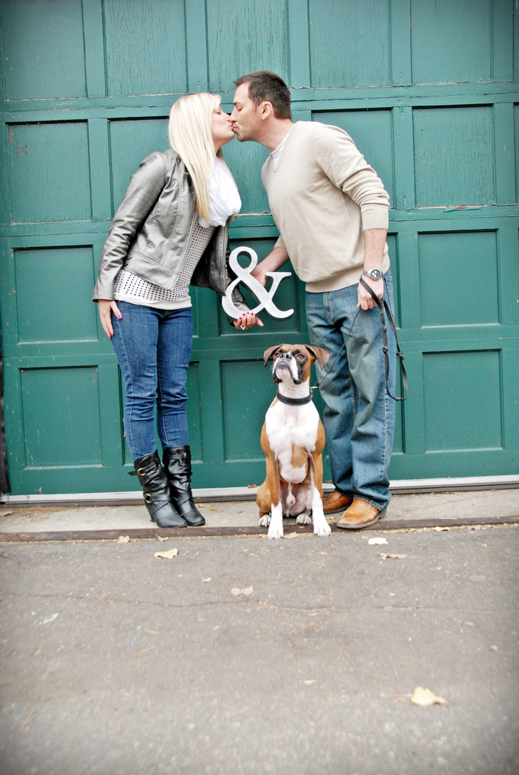 Engagement photo with dog, Mr & Mrs. Save the date.